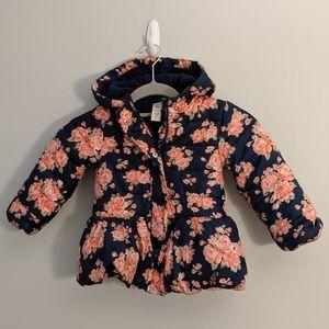 3/$25 Toddler Girls' Rose Floral Puffy Winter Coat